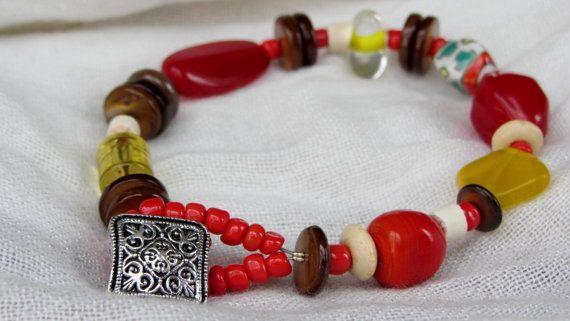 Red Orange and Yellow Beaded Bracelet by AmarisJewelry on Etsy, $7.00
