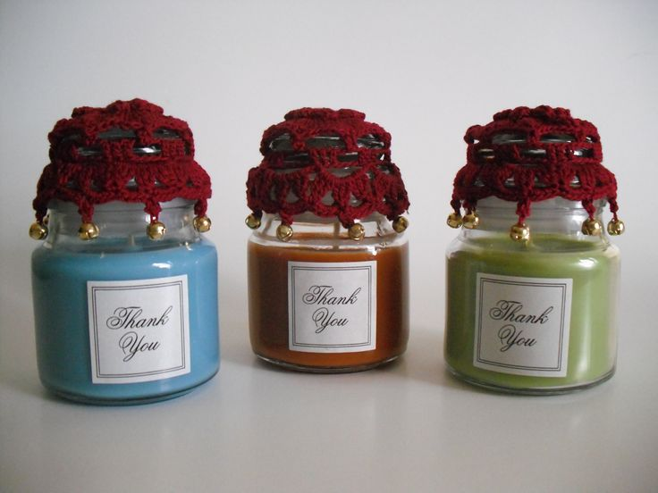Diy crocheted wedding favors candle jar covers jar