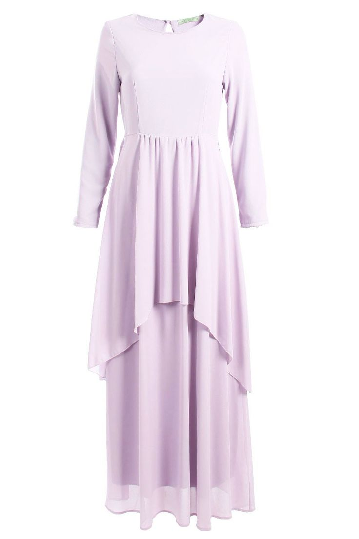 Muneera Chiffon Maxi Dress - Dusty Lilac