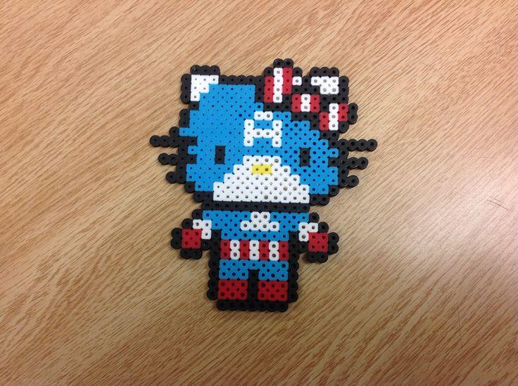 Captain America Helo Kitty perler beads by Amanda Collison
