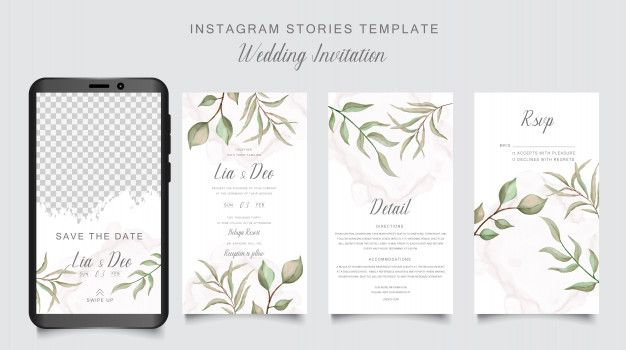 Instagram Stories Template For Wedding Invitation Card With Green Leaf Background Wedding Invitation Cards Gold Wedding Stationery Wedding Invitation Card Template