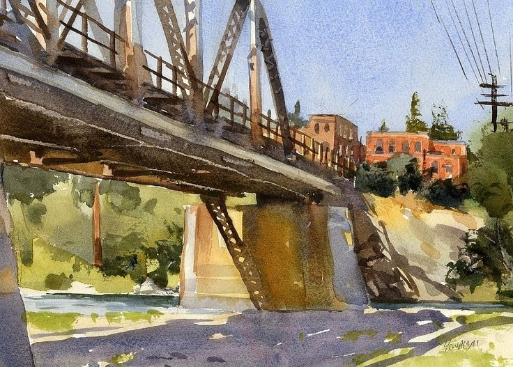 East End of Town by Mike Kowalski Watercolor ~ 7.5 x 10