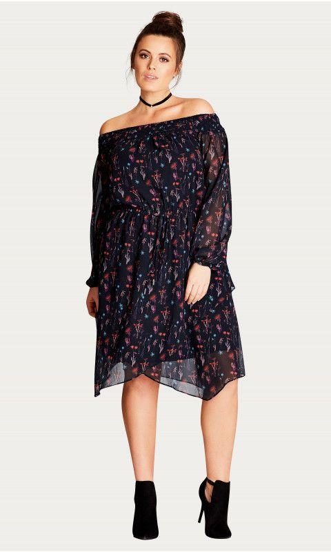 Shop Women's Plus Size Dark Botanical Off Shoulder Dress - Festival - Looks - Clothing | City Chic USA