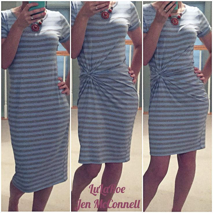 LuLaRoe Julia Dress. This one is 2 sizes larger than my normal size and by bunching fabric and tying with a hair tie inside the dress, I can choose how long and fitted I want to wear it that day!