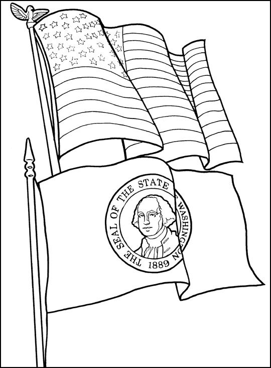 57 best kids coloring book images on pinterest coloring for Washington state flag coloring page