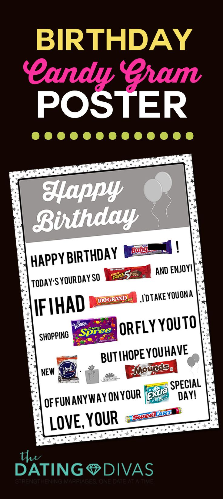 Printable Candy Gram Posters | Candy grams, Birthday candy ...