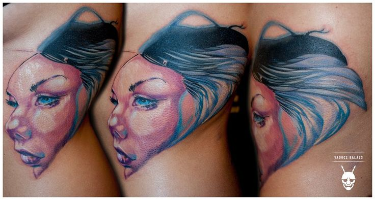 Girl portrait tatoo detail custom tattoo by Balázs Vadócz at Creation by Vadócz Tattooshop