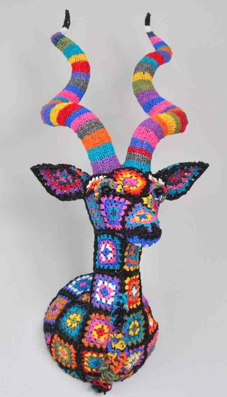 Eco crochet kudu from recycled shopping bags • artist / designer: Magda van der Vloed (South Africa)