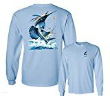 Fair Game Two Sailfish Deep Sea Fishing Salt Water Fish Long Sleeve T-Shirt-Light Blue-Large