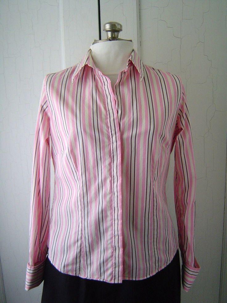 Thomas Pink Shirt Women's Sz 10 Pink Black Striped Cotton French Cuff D214 | eBay