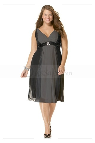 Chic Empire Plus Size Bridesmaid Gowns Features V-Neck