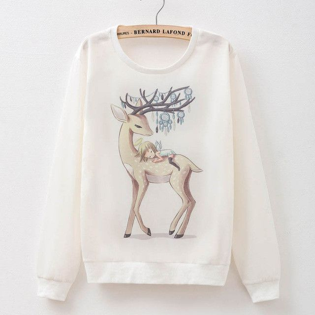 winter jacket women Hoodies Sweatshirt Christmas deer Harajuku Print halloween costumes for women Pullover Tracksuits