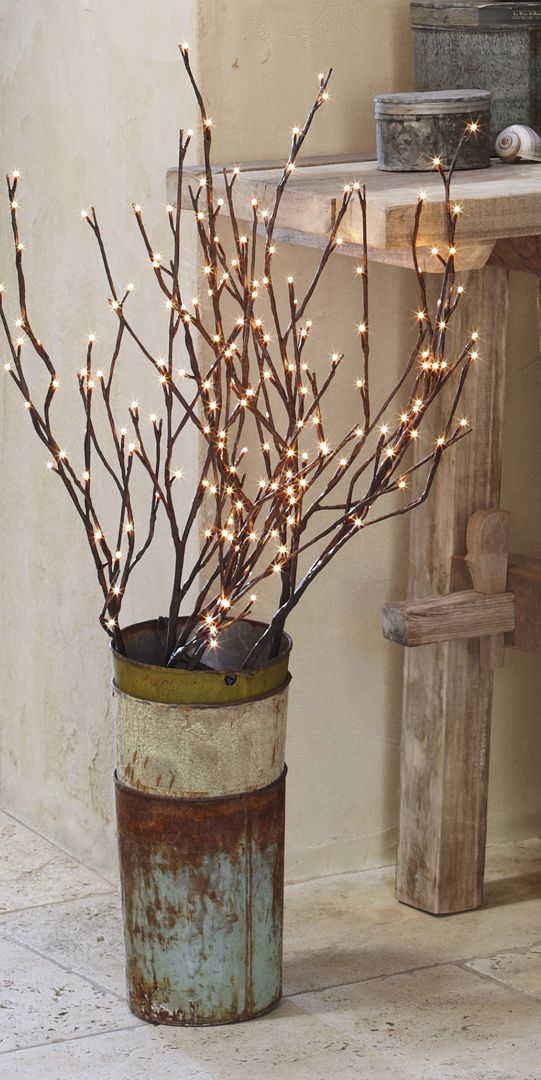 Best 25 lighted branches ideas on pinterest rustic for Twig decorations home