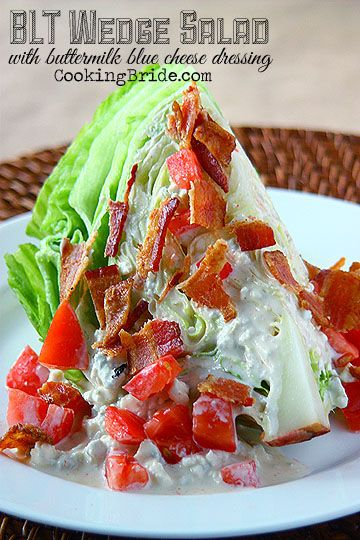 BLT Wedge Salad - Ingredients •1 head iceberg lettuce, cut into quarters •1 medium tomato, diced •4 strips bacon, cooked, diced  Buttermilk Bleu Cheese Dressing: •1 large egg •3 cloves garlic •1 cup vegetable oil •¼ cup buttermilk •½ teaspoon salt •½ teaspoon white pepper •¼ teaspoon cayenne pepper •8 ounces blue cheese, coarsely crumbled (add 1 avocado, diced)