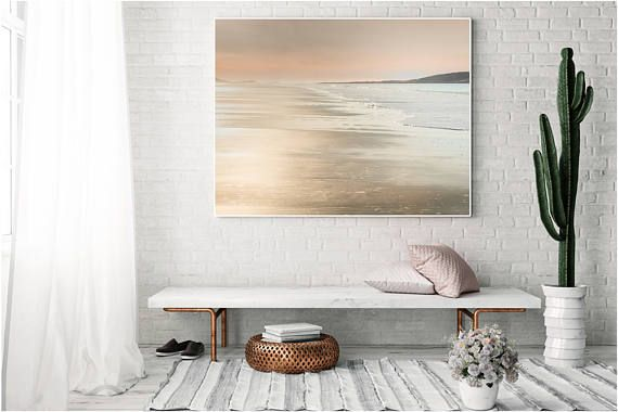 Rose Gold Beach Canvas, Rose gold Home Decor, Canvas Large, rose, gold, large Abstract Decor, Abstract, Canvas large, Wall Art Livingroom