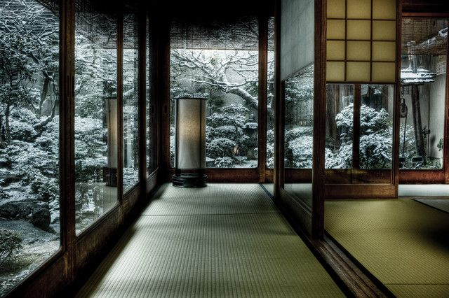 Snowy Morning in Kyoto - wow, gorgeous Asian home design! [ Barndoorhardware.com ] #Asian #hardware #slidingdoor