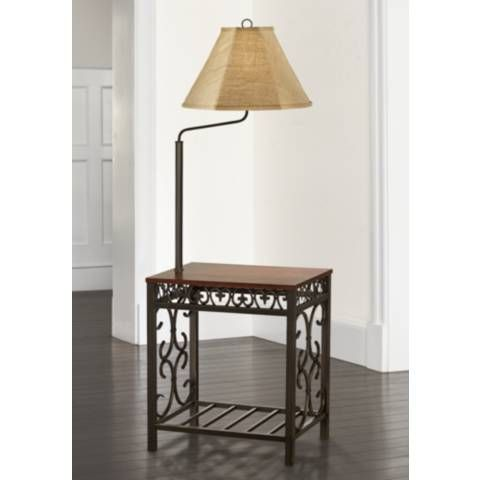 Travata Cherry Wood End Table With Floor Lamp 5c204 Lamps