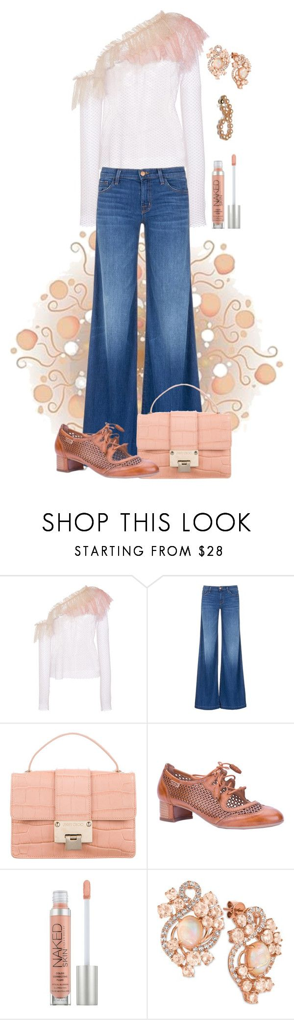 """""""Doin' Just Peachy!"""" by flippintickledinc ❤ liked on Polyvore featuring Philosophy di Lorenzo Serafini, J Brand, Jimmy Choo, Pikolinos, Urban Decay and LE VIAN"""