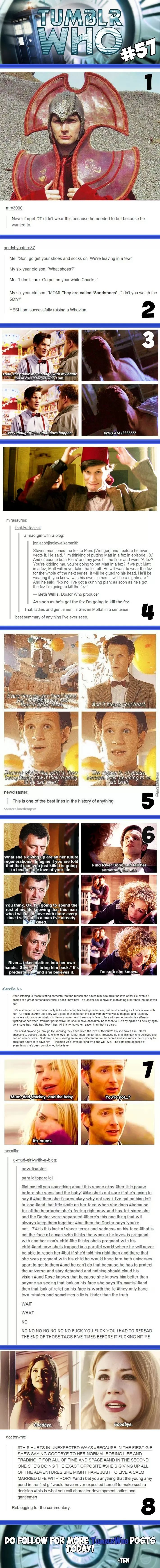 Doctor Who on tumblr. Although I disagree with the one post. Rose was not pregnant with the Doctor's baby. We know this from future episodes.