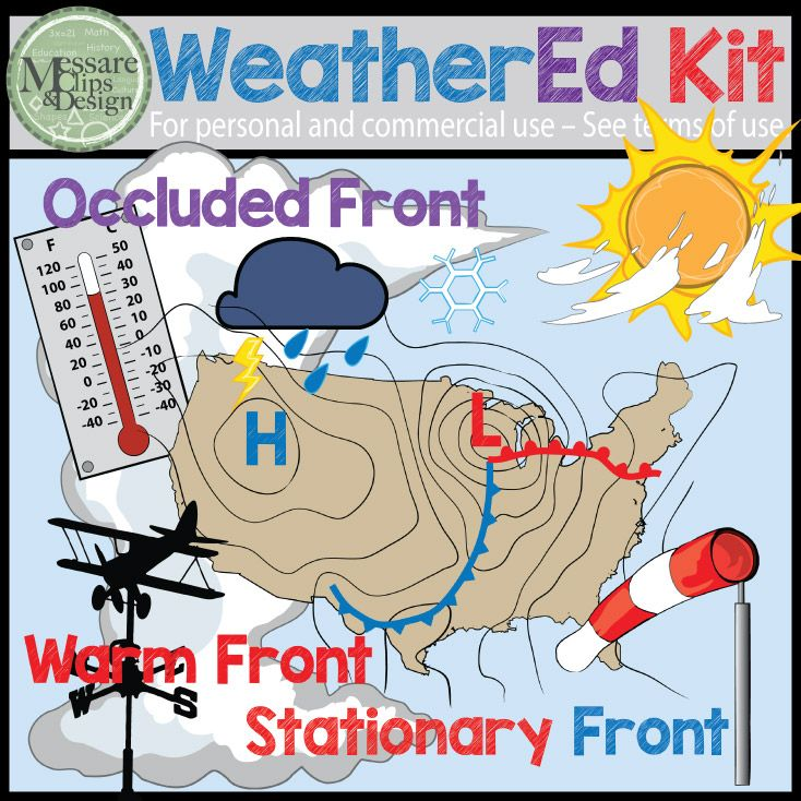 This WeatherEd Clipart Kit is already huge, but send me a note of what you're looking if you think this or any other set needs something added. 74 Graphics in total and basically everything you need to teach weather or meteorology lessons, create worksheets, or create your own weekly weather forecast board.