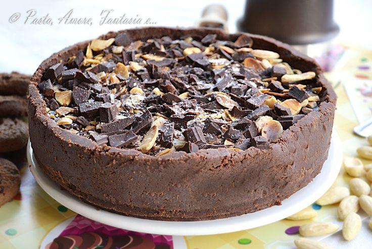 Torta gelato con cioccolato e mandorle