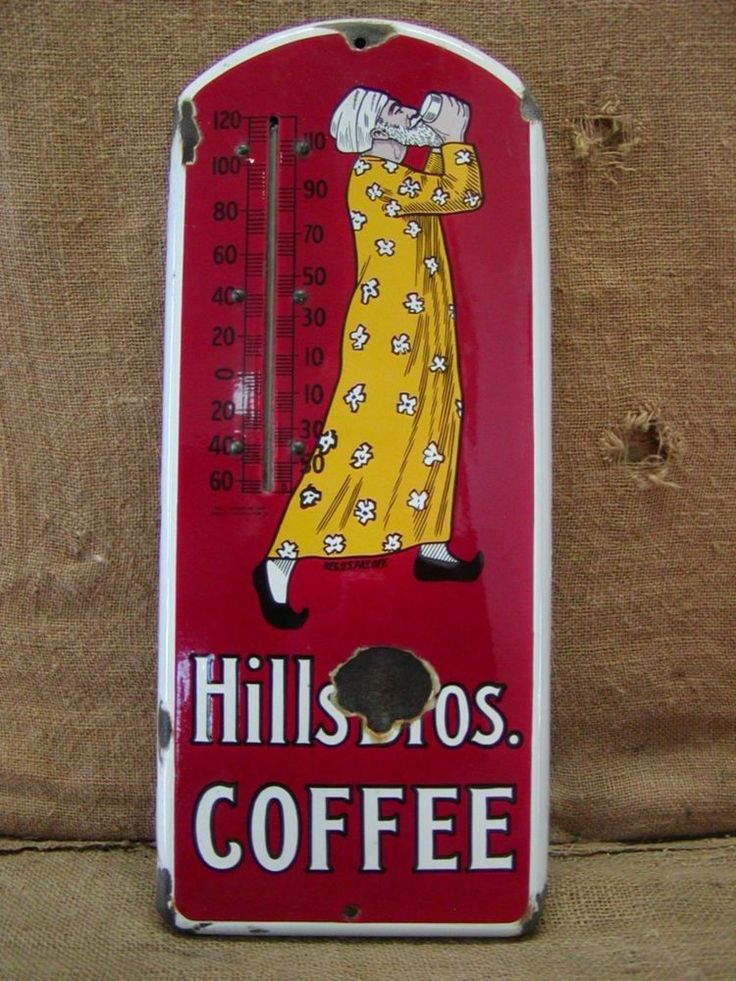 21in long x 8.75in wide. Vintage 1915 Porcelain Hills Brothers Coffee Thermometer   Sign Antique Tea 6596