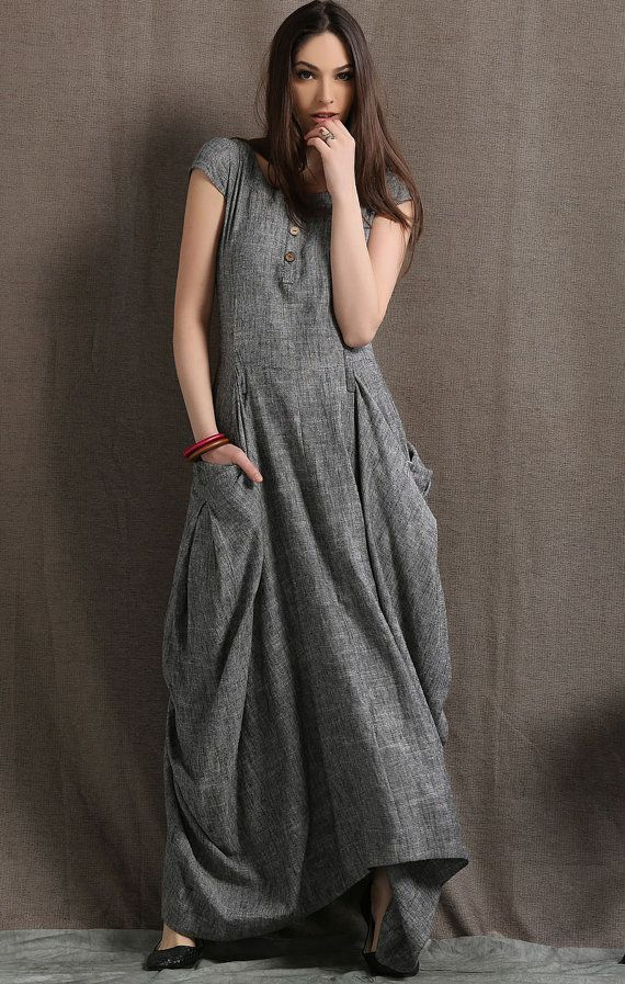 Gray Linen Dress - Long Maxi Boho Style Short Sleeved Shift Dress with Two Large…