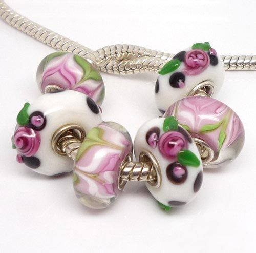 USA ---6 pcs set Murano Glass Bead Lampwork Pandora Style Charm Bead fit…