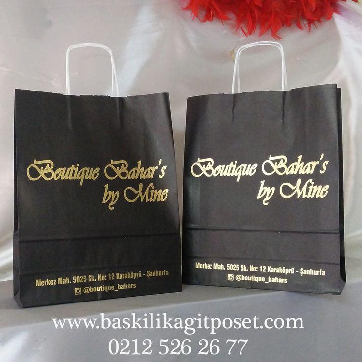 Gold Baskılı Siyah Kraft Poşet Mağaza Avm Fuar Poşeti | Beka Kağıtçılık