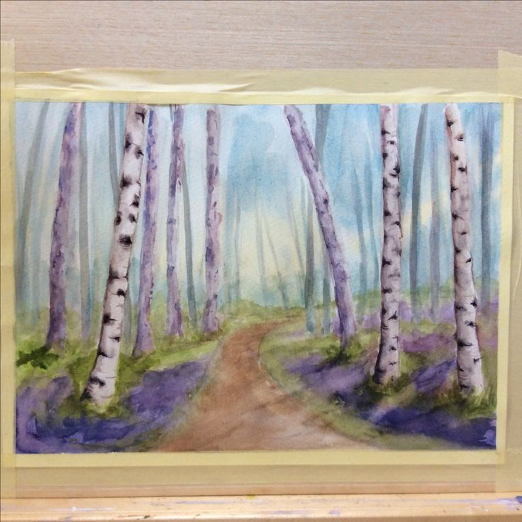 'Bluebell Wood' watercolour by Jan Lewin