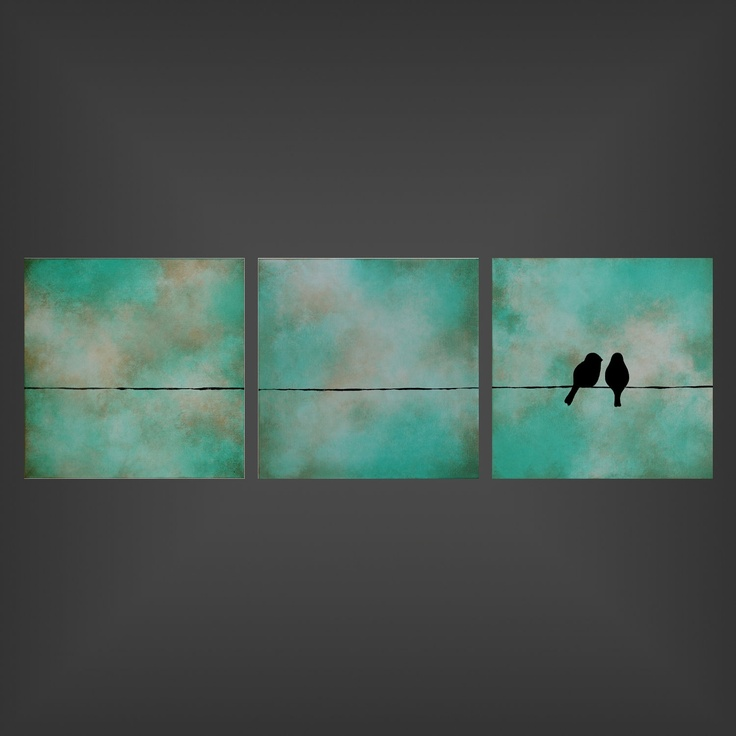 Love You More - 12x36x1.5 triptych original painting on canvas by Jodi Leigh. $245.00, via Etsy.