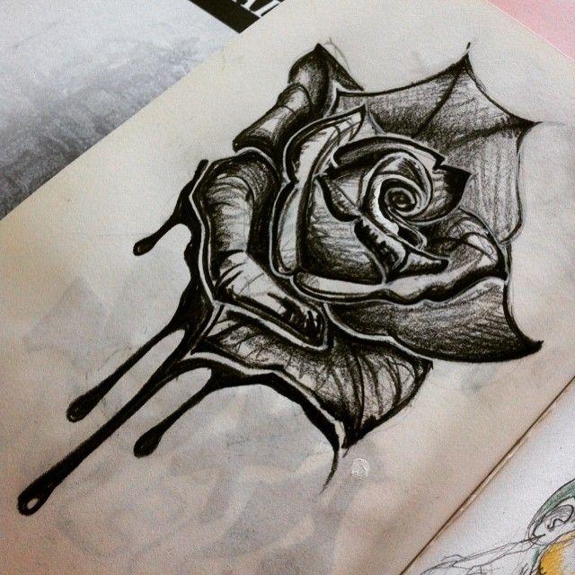 Pour changer de thème ! #black #rose #draw #drawing #art #instartist #tattoo…