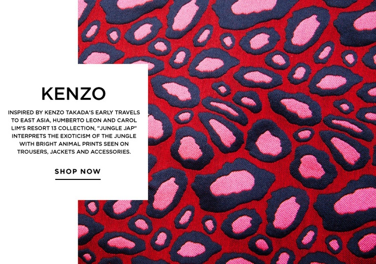 Exotic animal prints and jungle-inspired brights from KENZO