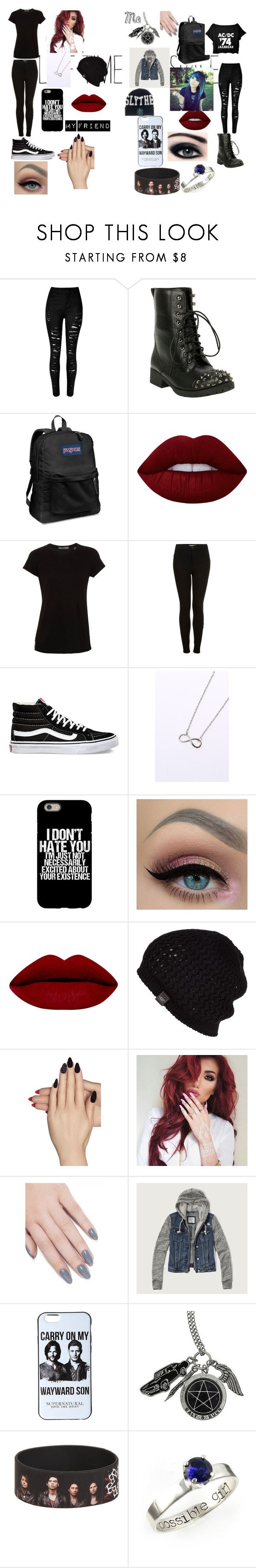 """""""My Friend and Me"""" by emilia-pond ❤ liked on Polyvore featuring JanSport, Lime Crime, Vince, Topshop, Vans, UGG Australia, Static Nails, ncLA and Abercrombie & Fitch"""