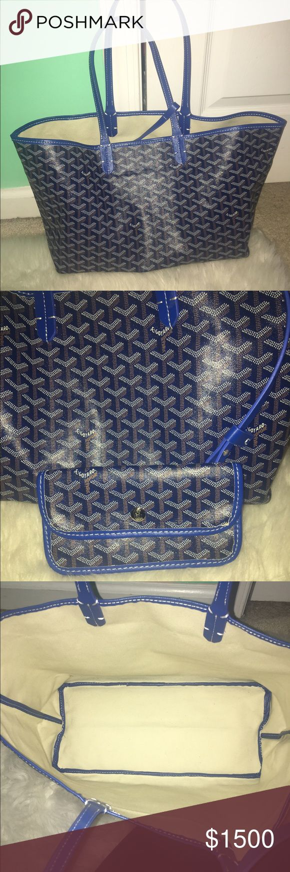 Goyard Tote Beautiful blue Goyard Tote in the large size. This bag is 100% authentic and in perfect condition! Price is firm!! Bags Totes