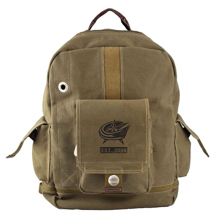 Columbus Blue Jackets NHL Prospect Deluxe Backpack  Backpacks are the new briefcase. Tote your laptop and other business sundries in this stylish yet understated military style backpack while showing off your team's logo. Many tech features make this bag the go-to position player for school and business. Your favorite team will be featured with a logo stencil including the team's established date. Made of sturdy washed cotton canvas with heavy-duty cotton webbed straps and handles.