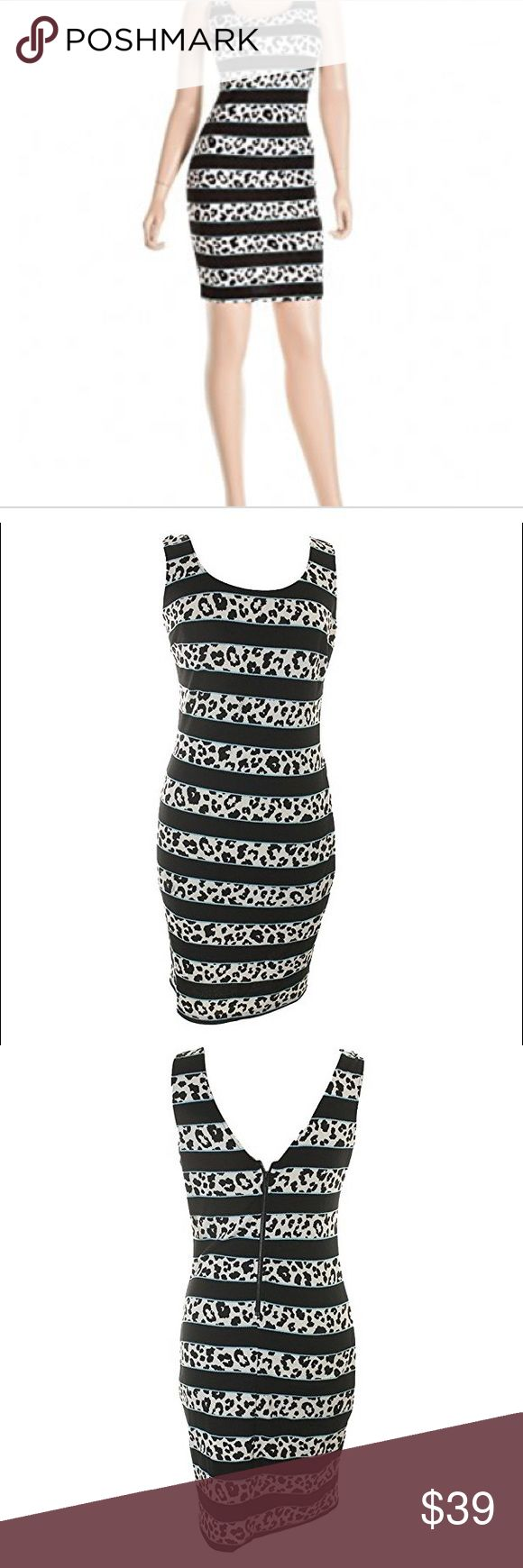"""Bar iii Textured Animal Print Party Dress. B58 Womens Textured Animal Print Party Dress. 95% polyester 5% spandex. 35"""" long. Lightweight fabric. Black and white colored with light blue trim. Bar III Dresses Mini"""