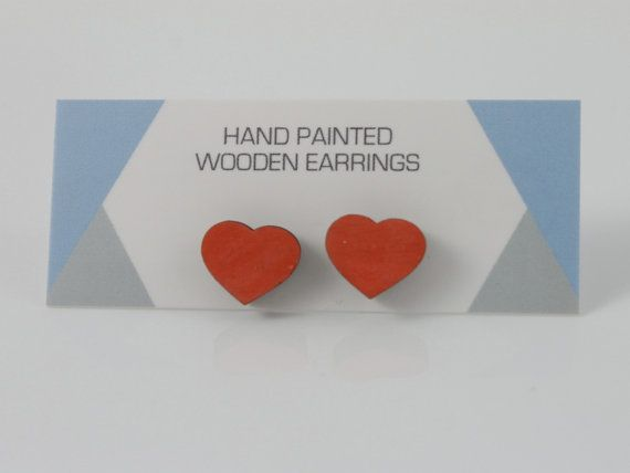 Hand Painted Wooden Earrings Wooden Studs Heart by ImodFashion