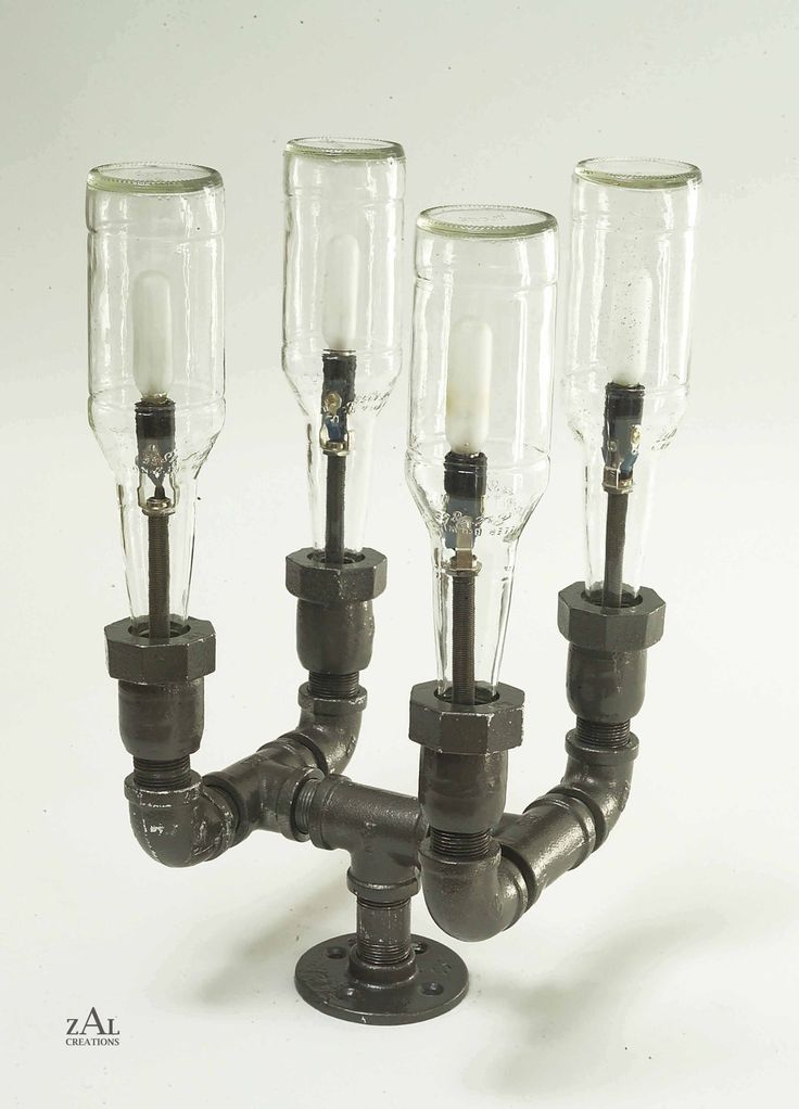 beer bottles plumbing pipe fittings pole light lighting fixture. Black Bedroom Furniture Sets. Home Design Ideas