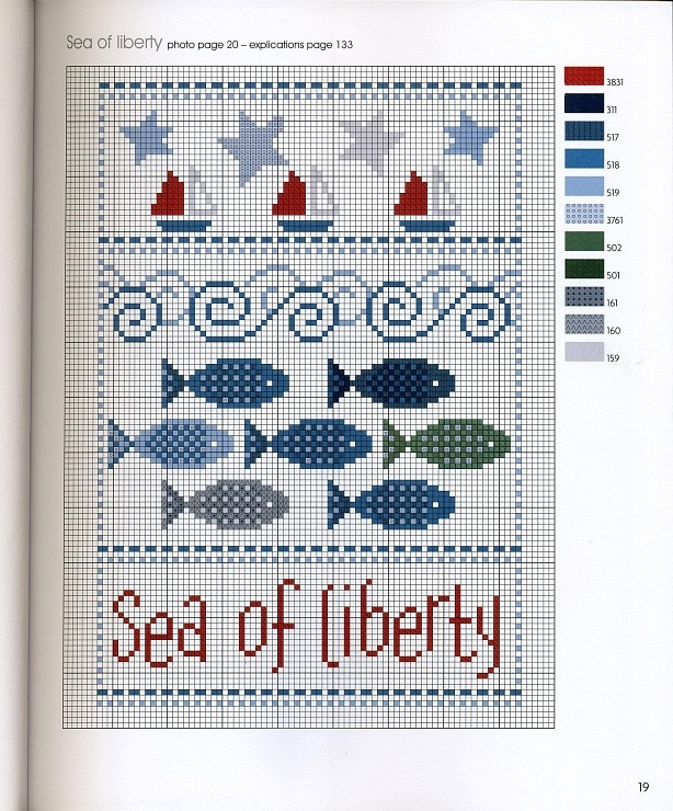 'Sea of liberty' cross stitch pattern