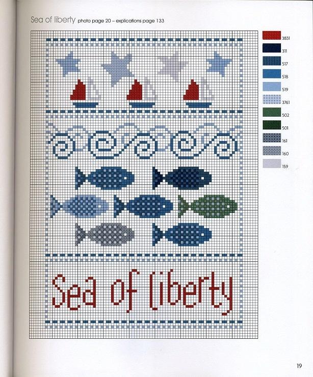 'Sea of liberty' cross stitch pattern