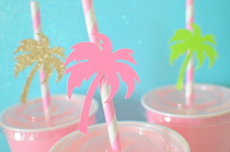 Palm tree straws ,Luau paper straws, Luau party, summer party, Palmtree straws, straws, Luau party decor by SmashCaked on Etsy