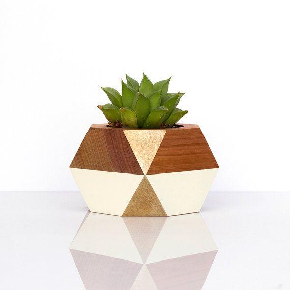 Geometric Wooden Pot by GwynethHulseDesign on Etsy