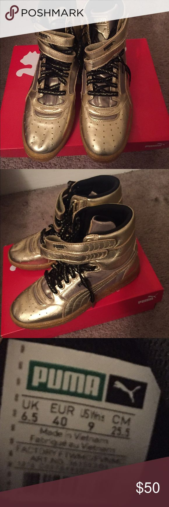 Puma high top Metallic Sneakers Super cool n flashy, never worn pumas! Make a statement. Women's 9. Bought them from DSW. Have too many shoes and trying to get rid of some. Puma Shoes Sneakers
