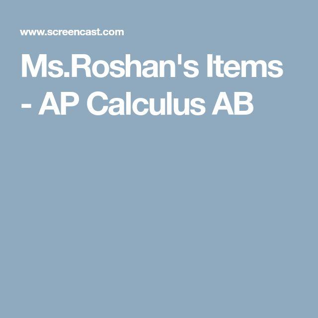 Ms.Roshan's Items - AP Calculus AB