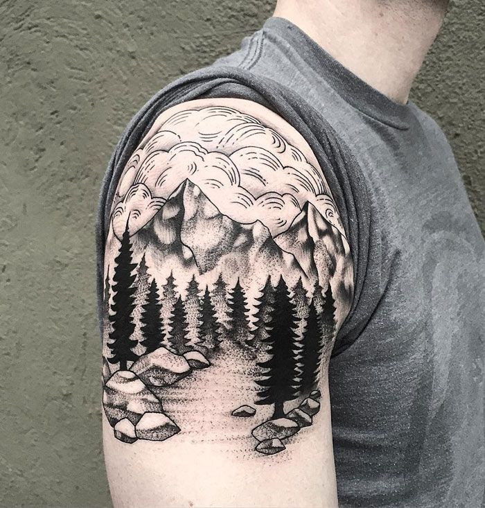Brilliant Mountains With Pine Trees Tattoo On Right Shoulder