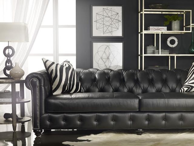 This bradington young chesterfield sofa brings life to a - Chesterfield sofa living room ideas ...