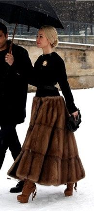 Fur Shirt.     Wow now that's an expen$ive skirt!!