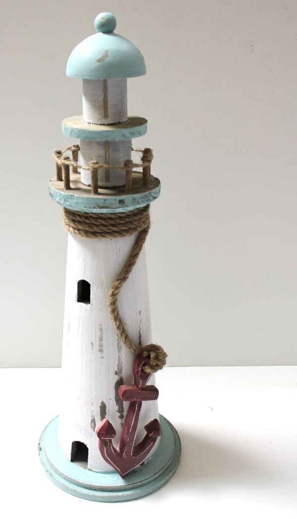 White And Blue Lighthouse With Red Anchor
