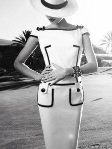 Formálne White Two-Tone Faux vrecká rímskych pliesť Batou Neck tričko s krátkymi rukávmi Dámske šaty Bodycon